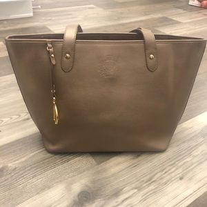 Ralph Lauren Champagne Gold Faux Leather Tote Bag